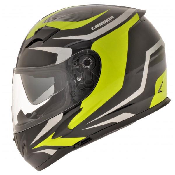 Moto přilba Cassida Integral 2.0 černá-šedá-fluo žlutá