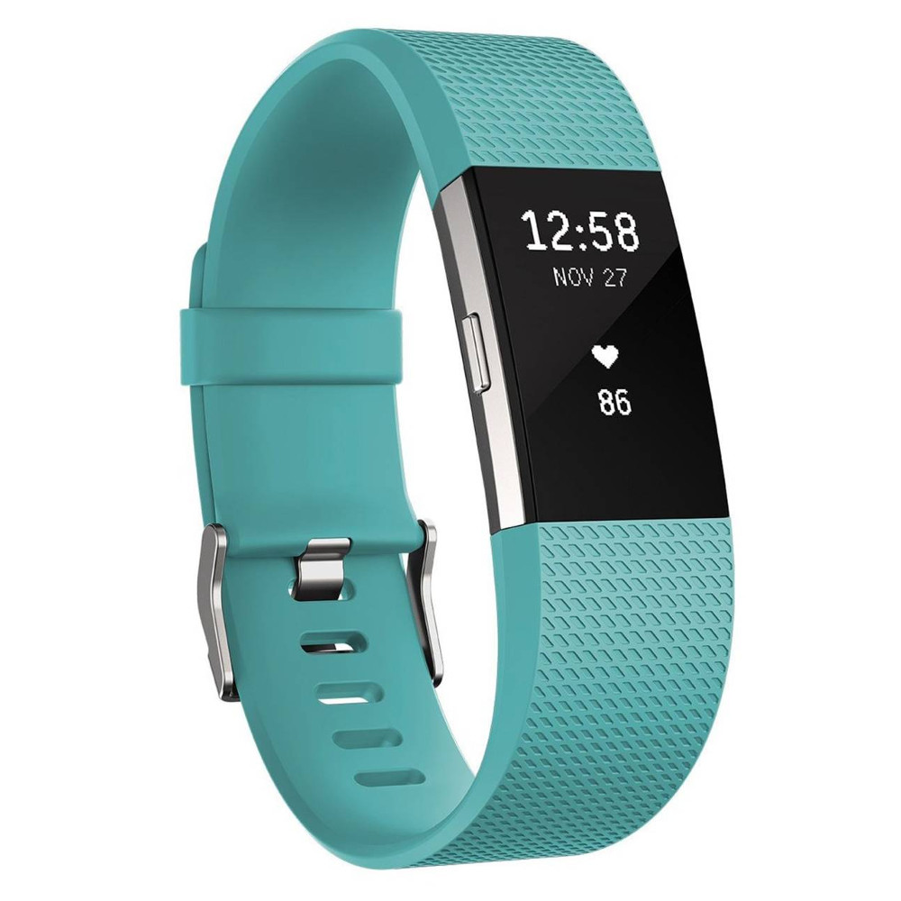 Fitness náramek FITBIT Charge 2 Teal Silver S