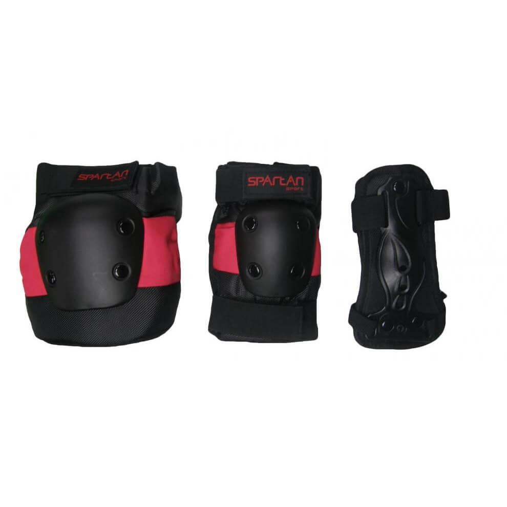 Chrániče Spartan Coolmax set 6-dílný černo-červená - S