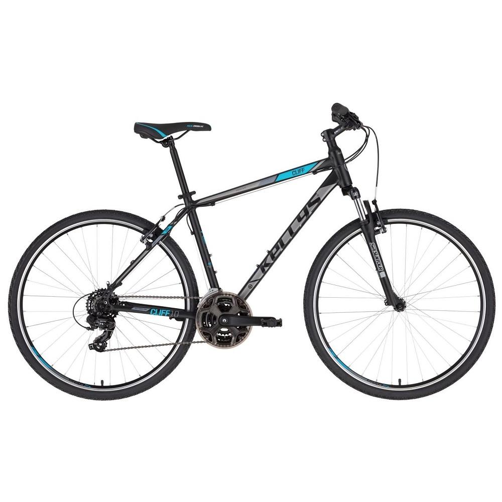 """Pánské crossové kolo KELLYS CLIFF 10 28"""" - model 2020 Black Blue - L (21'') - Záruka 10 let"""
