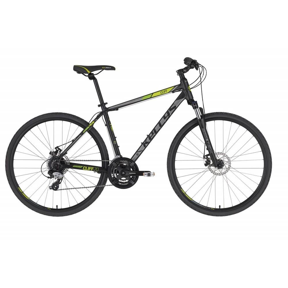 """Pánské crossové kolo KELLYS CLIFF 70 28"""" - model 2021 Black Green - S (17'') - Záruka 10 let"""