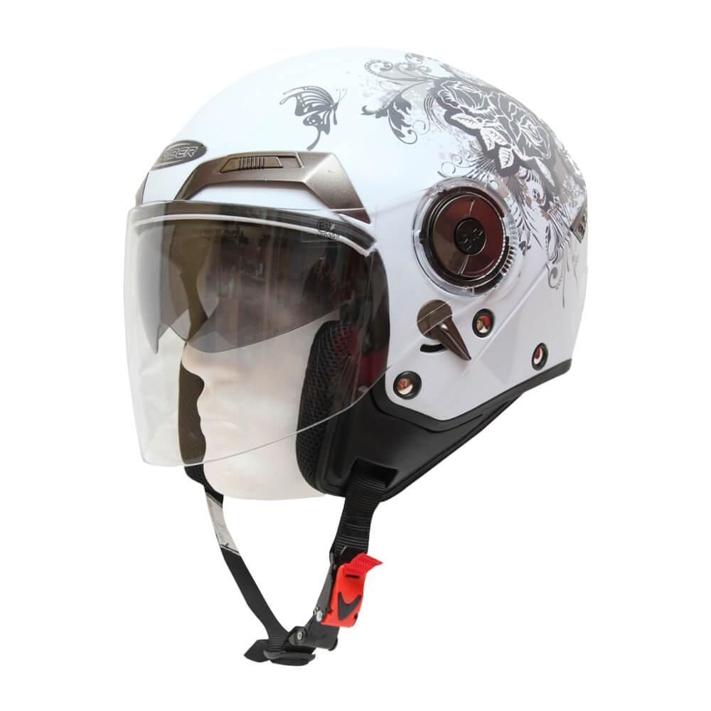 Moto helma Cyber U 44 bílá s grafikou - XS (53-54)