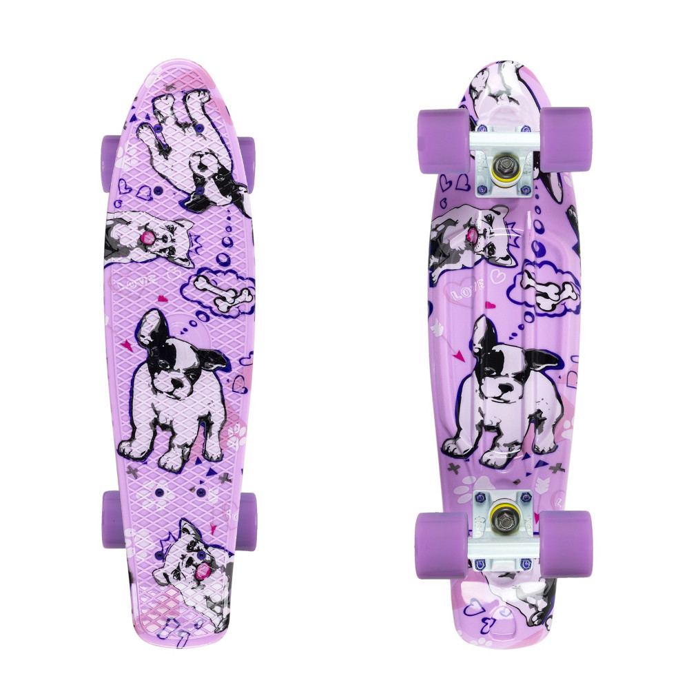 "Penny board Fish Print 22"" Dogs-White-Summer Purple"