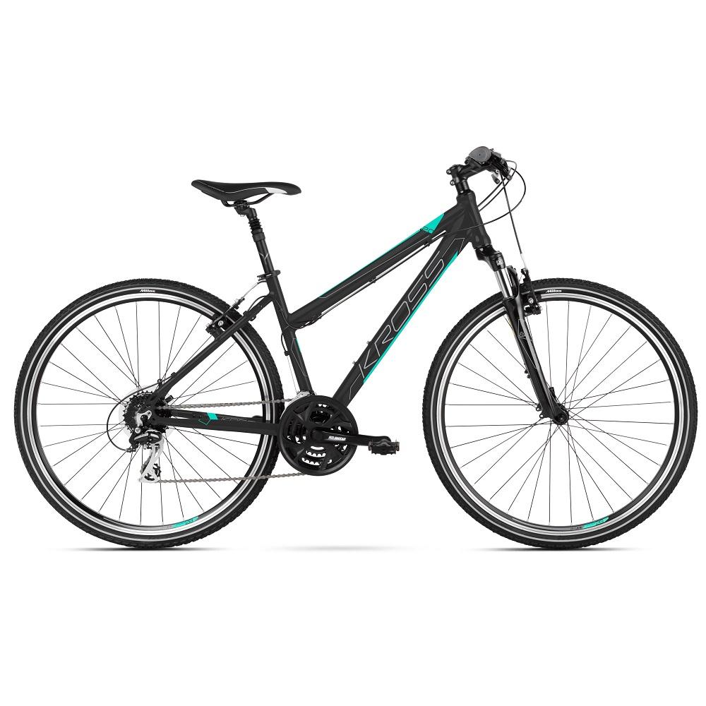 """Dámské crossové kolo Kross Evado 2.0 D 28"""" - model 2021 černá/mint - M (17"""")"""