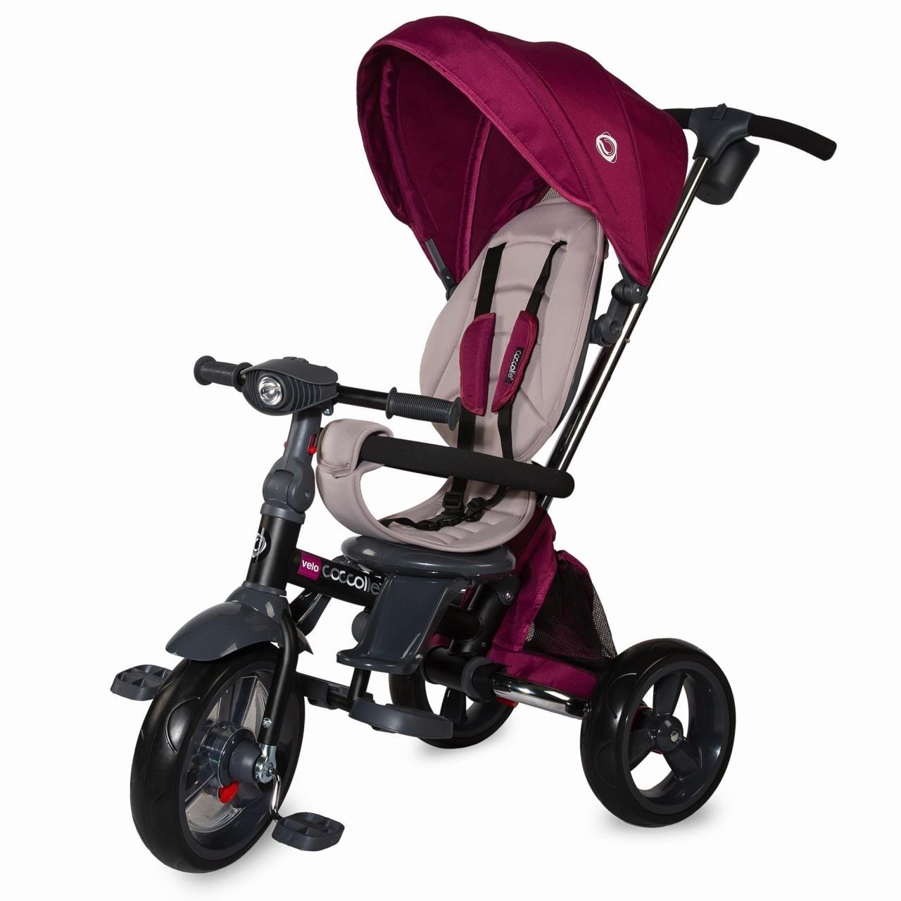 Dětská tříkolka s vodící tyčí Coccolle Velo fialová