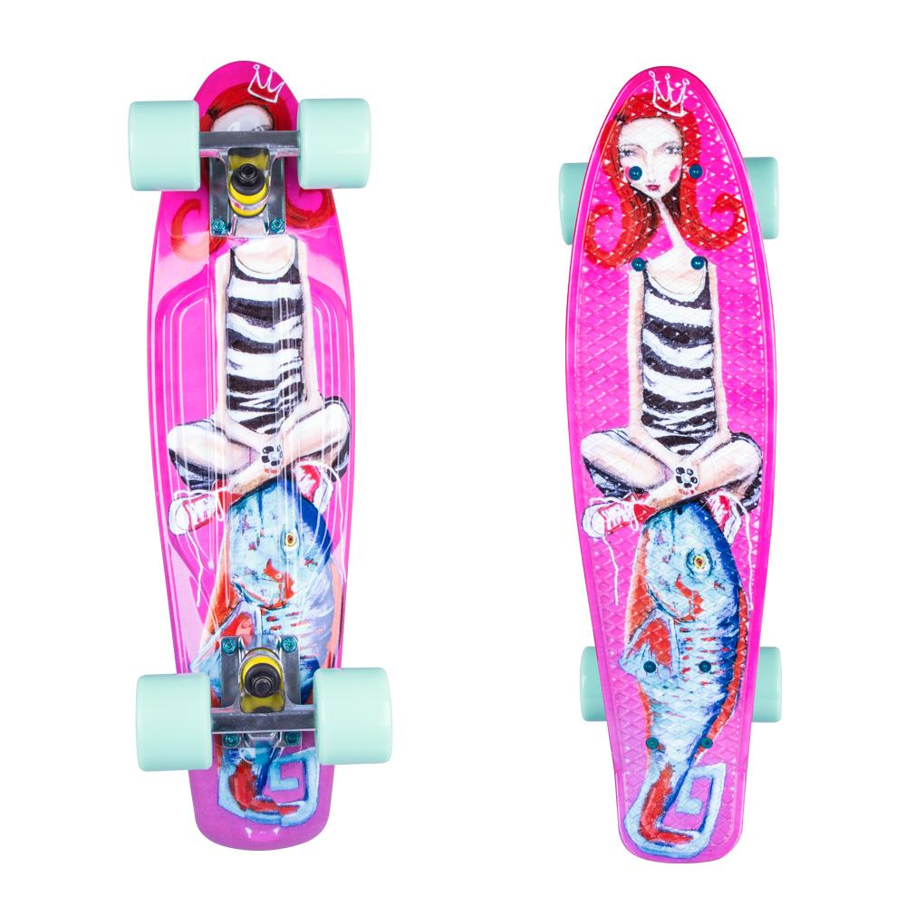 "Penny board ArtFish Girl 22"" mix"