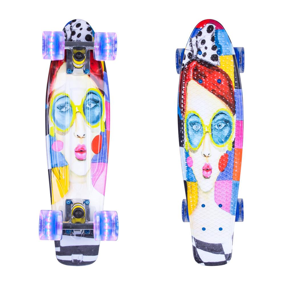 """Penny board ArtFish Face 22"""" se svítícími kolečky stříbrná"""