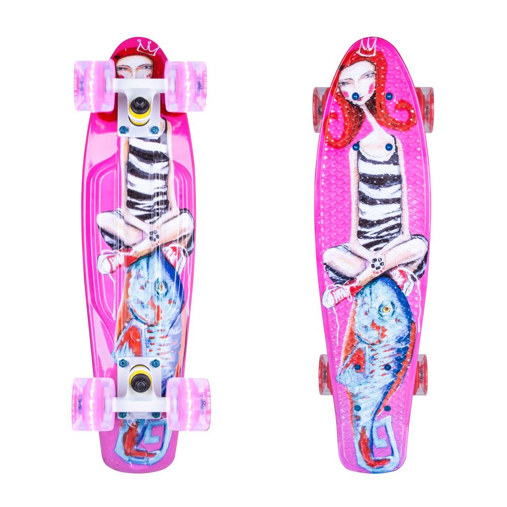 """Penny board ArtFish Girl 22"""" se svítícími kolečky bílá"""