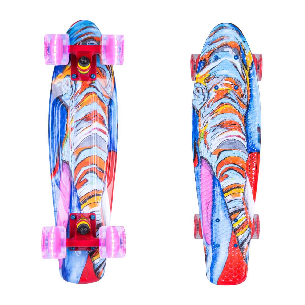 """Penny board ArtFish Elephant 22"""" se svítícími kolečky stříbrná-transparentní červená"""