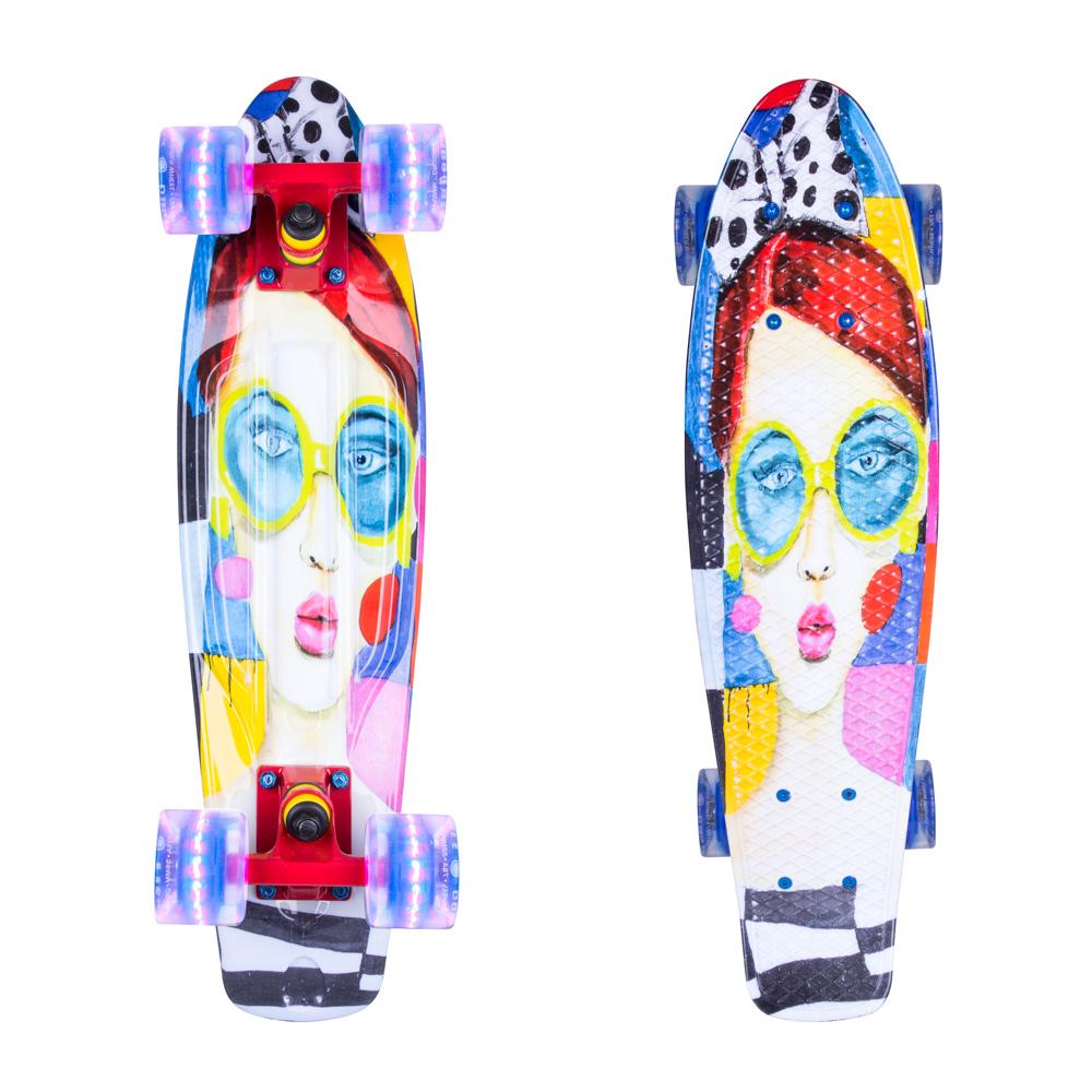 """Penny board ArtFish Face 22"""" se svítícími kolečky červená"""