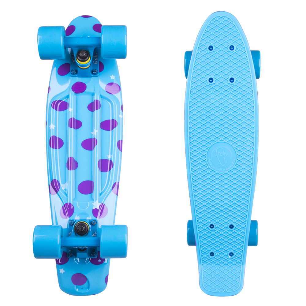 "Penny board Fish Print DOTS 22"" blue-blue"
