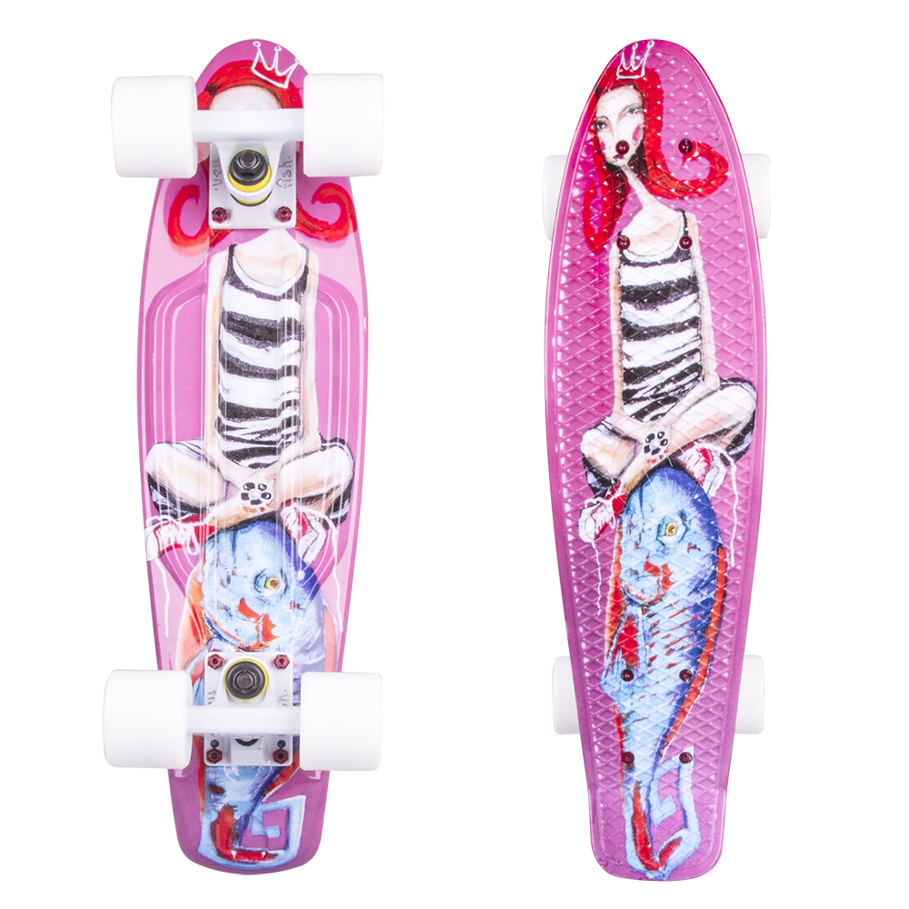 "Penny board ArtFish Girl 22"" bílá"