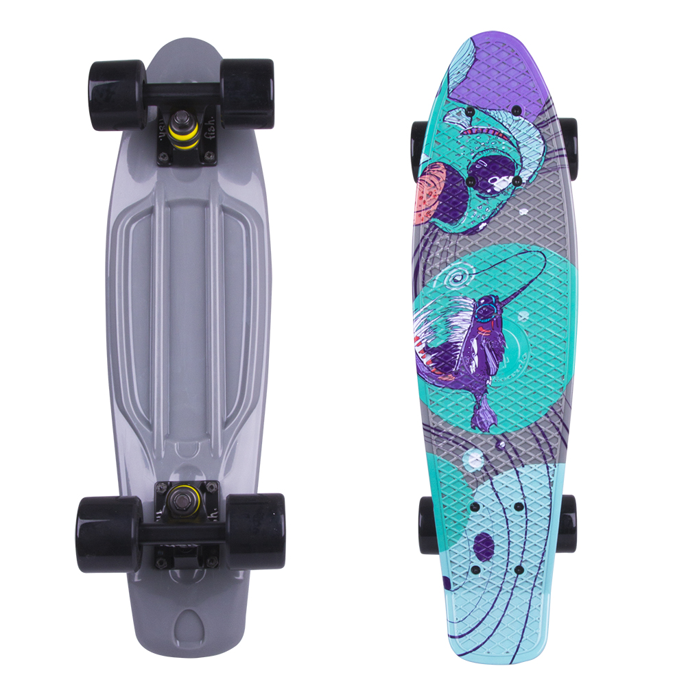 "Penny board Fish Print 22"" Black Fish"