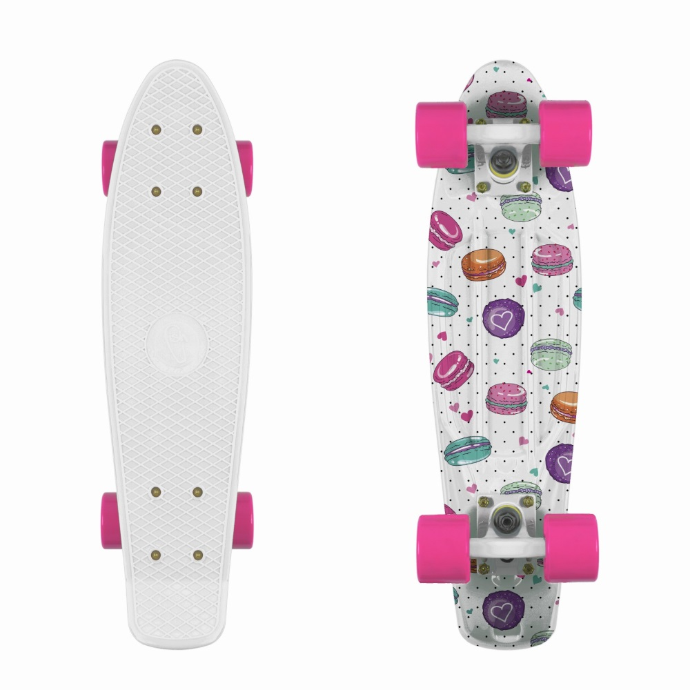 """Penny board Fish Print 22"""" Macarons-White-Pink"""