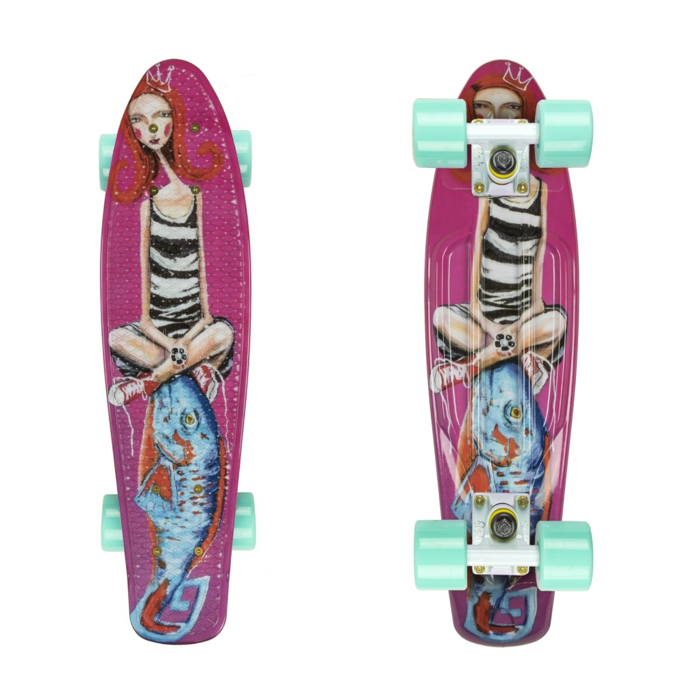 "Penny board ArtFish Girl 22"" bílo-zelená"