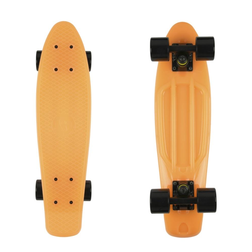 """Svítící penny board Fish Classic Glow 22"""" Orange-Black-Black"""