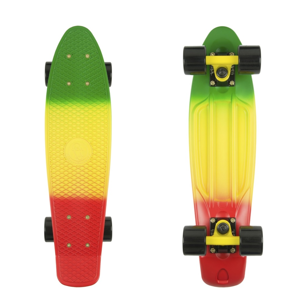 """Penny board Fish Classic 3Colors 22"""" Green+Yellow+Red-Black-Black"""