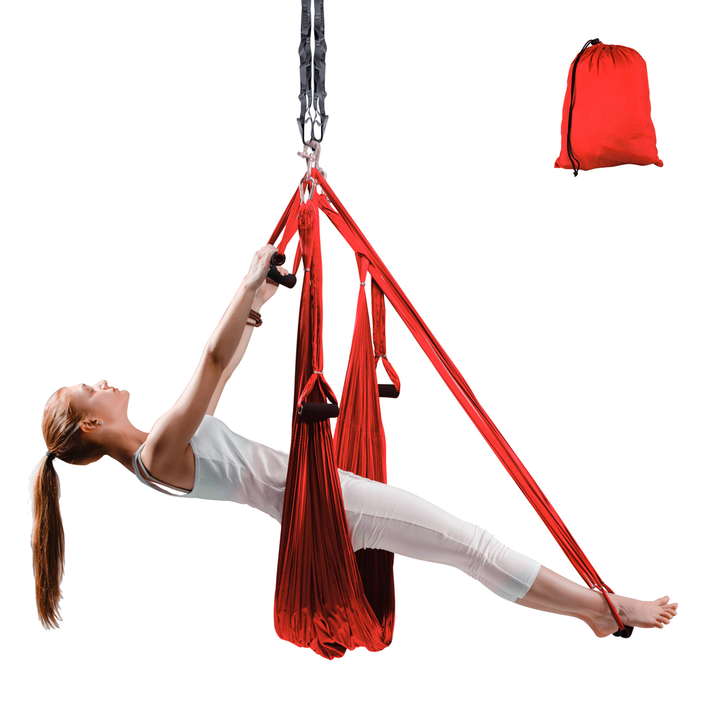 Popruhy na aero jógu inSPORTline Hemmok červená