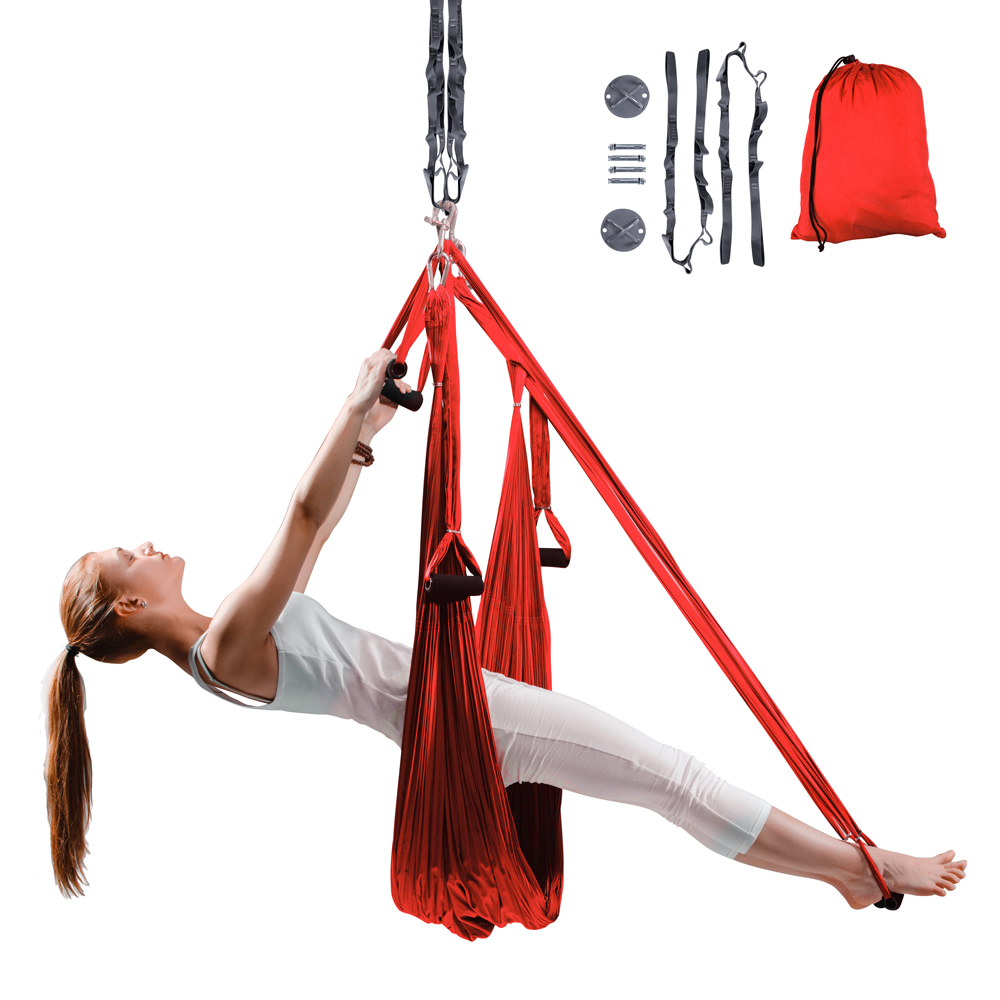 Popruhy na aero jógu inSPORTline Hemmok červená s držáky a lany