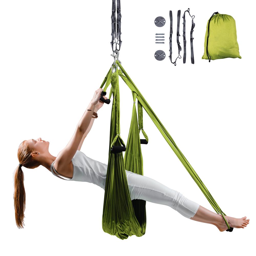Popruhy na aero jógu inSPORTline Hemmok zelená s držáky a lany
