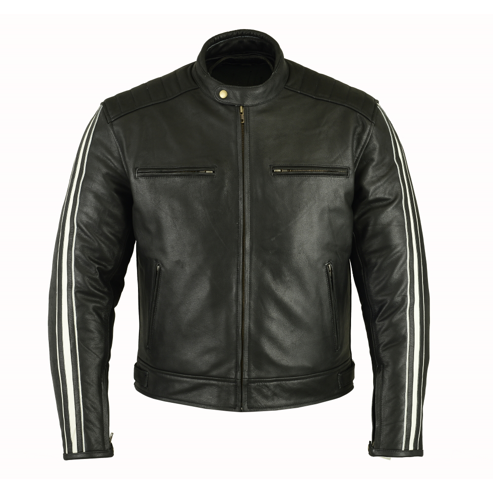 Pánská kožená bunda B-STAR Aces černo-bílá - S