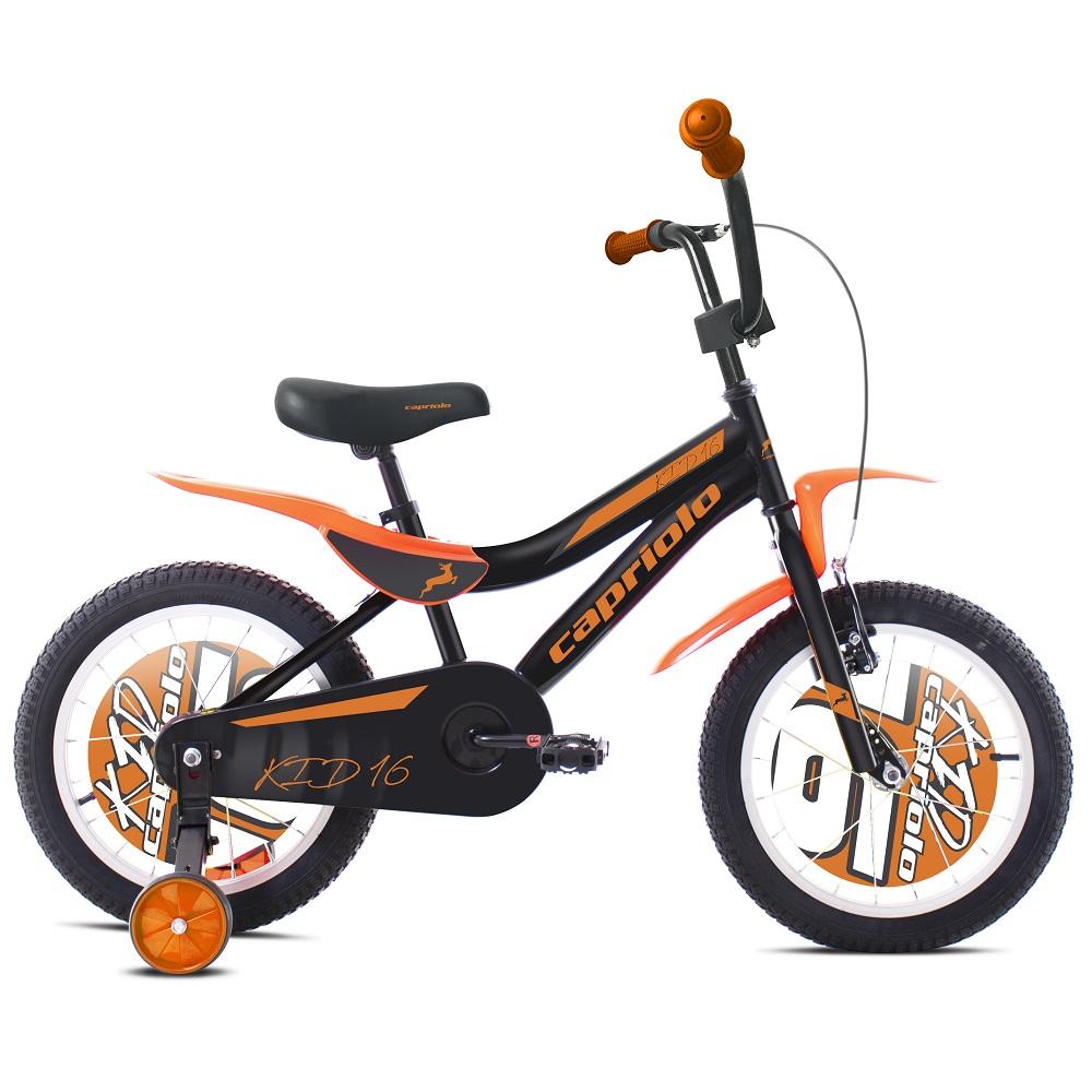 """Dětské kolo Capriolo Kid 16"""" - model 2020 černo-oranžová"""