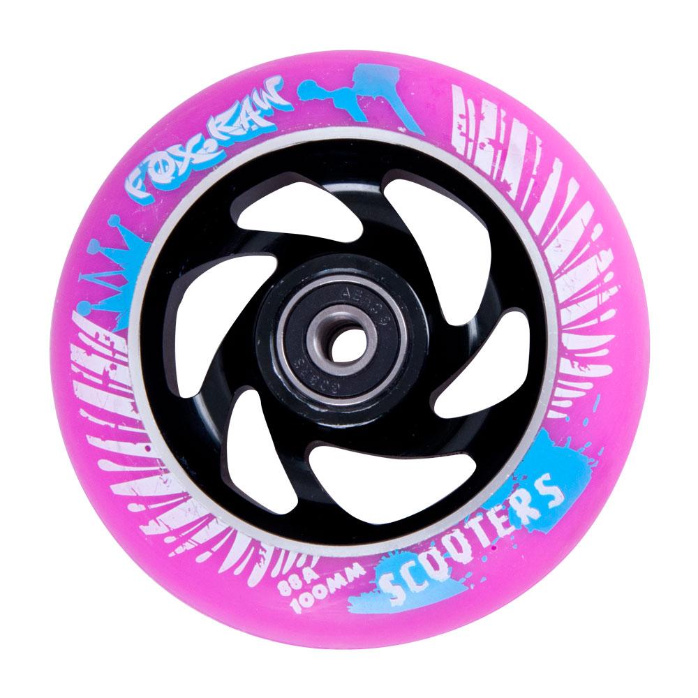 Náhradní kolečko pro koloběžku FOX PRO Raw 100 mm fialovo-černá s potiskem