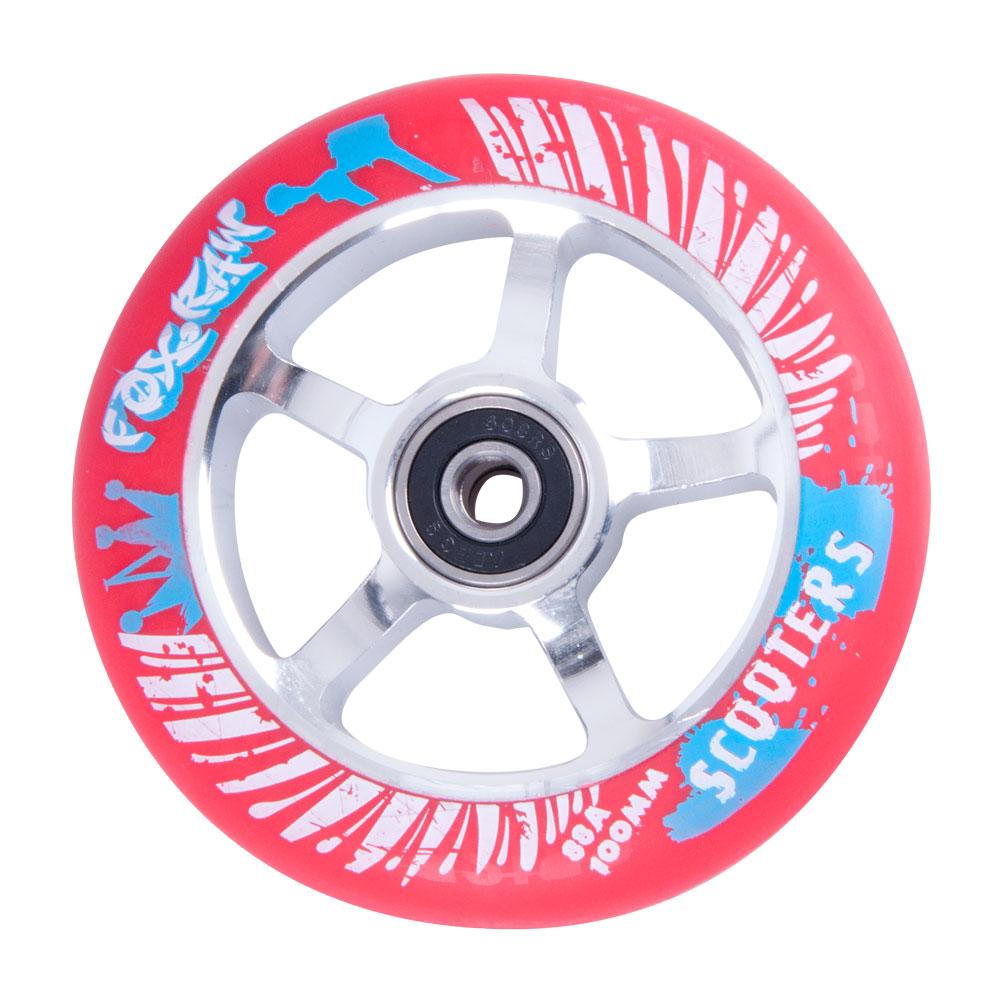Náhradní kolečko pro koloběžku FOX PRO Raw 100 mm červeno-stříbrná s potiskem