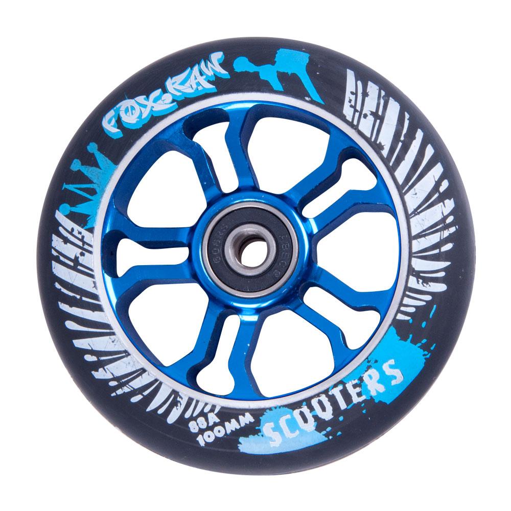 Náhradní kolečko pro koloběžku FOX PRO Raw 100 mm černo-modrá s potiskem