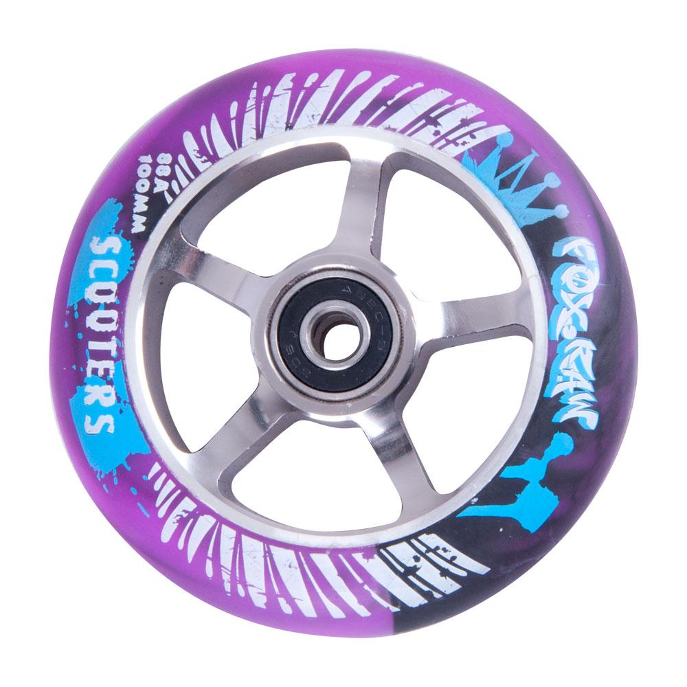 Náhradní kolečko pro koloběžku FOX PRO Raw 100 mm fialovo-stříbrná s potiskem