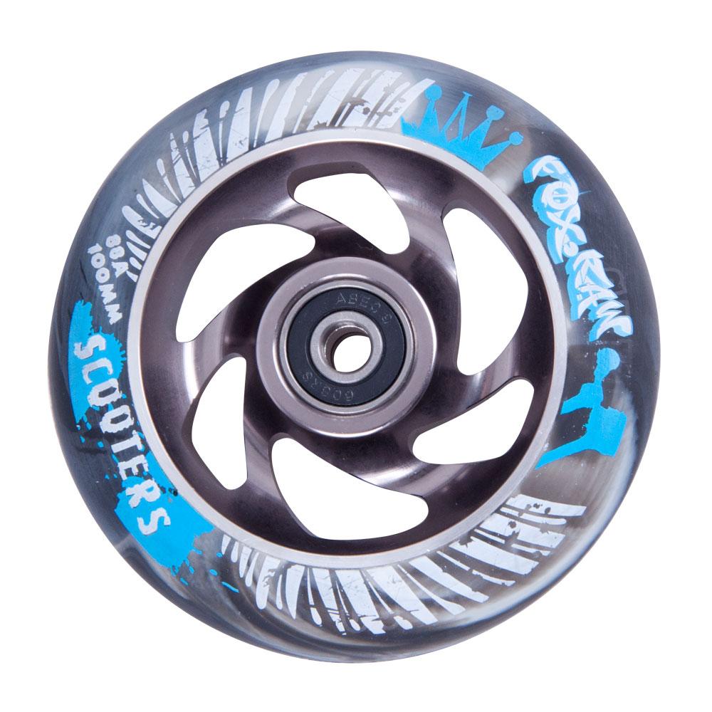 Náhradní kolečko pro koloběžku FOX PRO Raw 100 mm šedo-stříbrná s potiskem