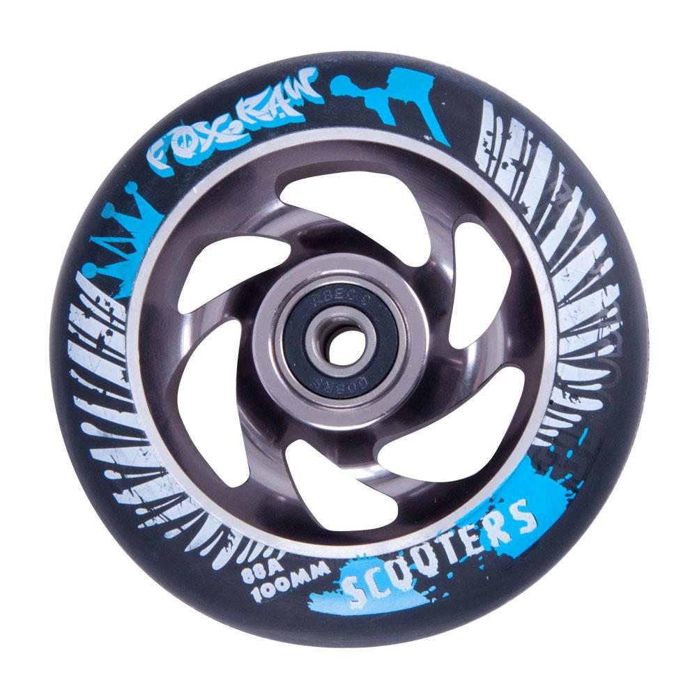 Náhradní kolečko pro koloběžku FOX PRO Raw 100 mm černo-stříbrná s potiskem