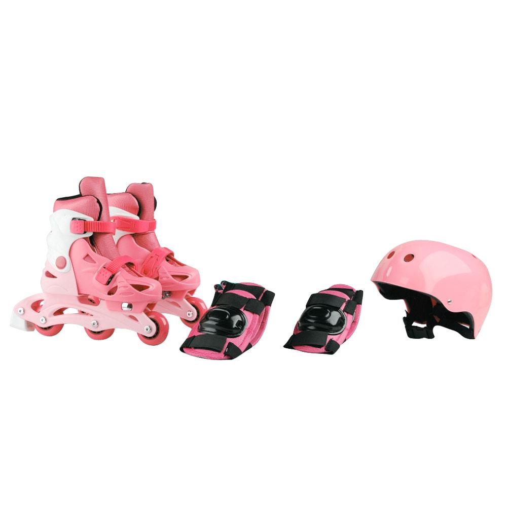 Dětské kolečkové brusle Laubr TriSkate + chrániče + helma růžová - M (31-34)