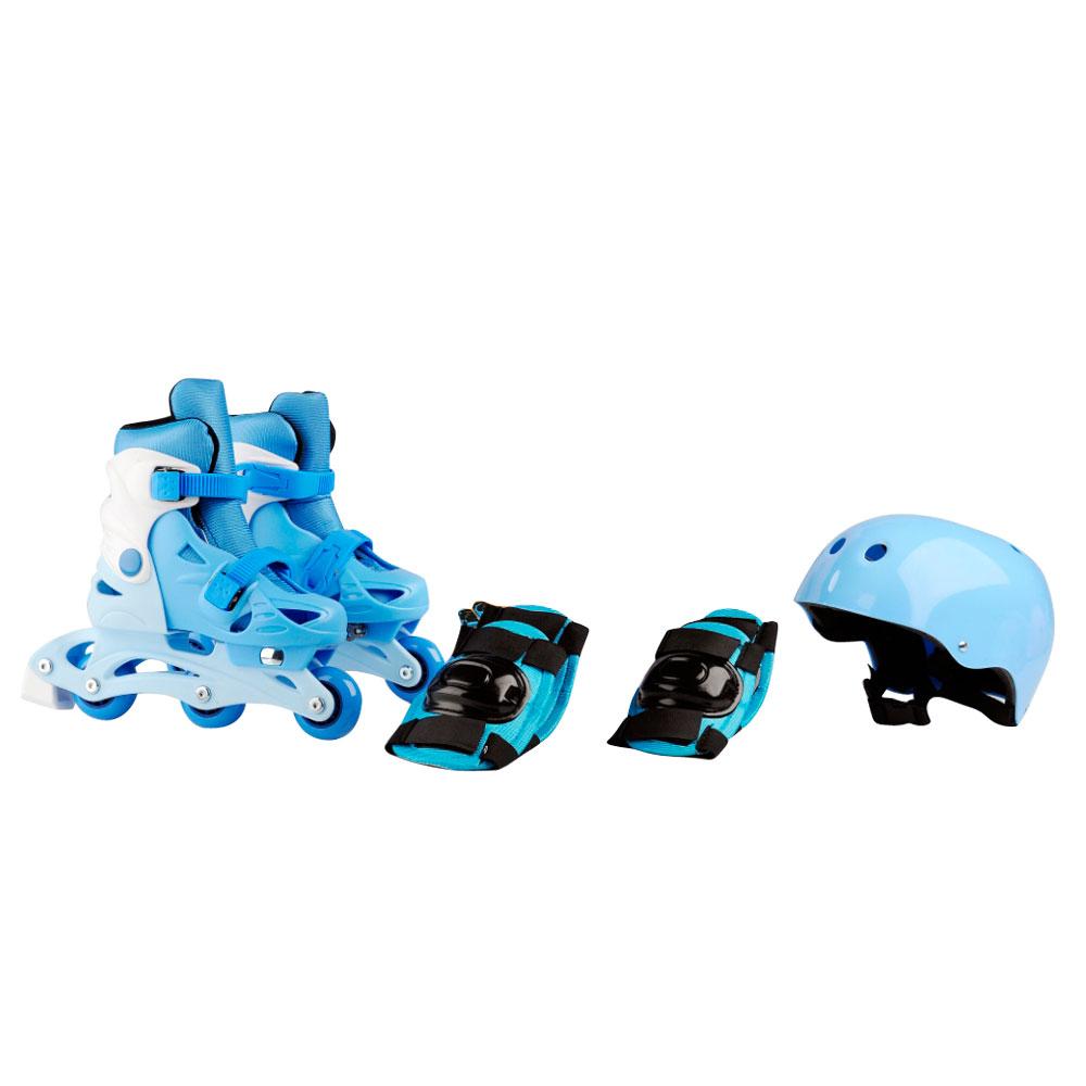 Dětské kolečkové brusle Laubr TriSkate + chrániče + helma modrá - M (31-34)
