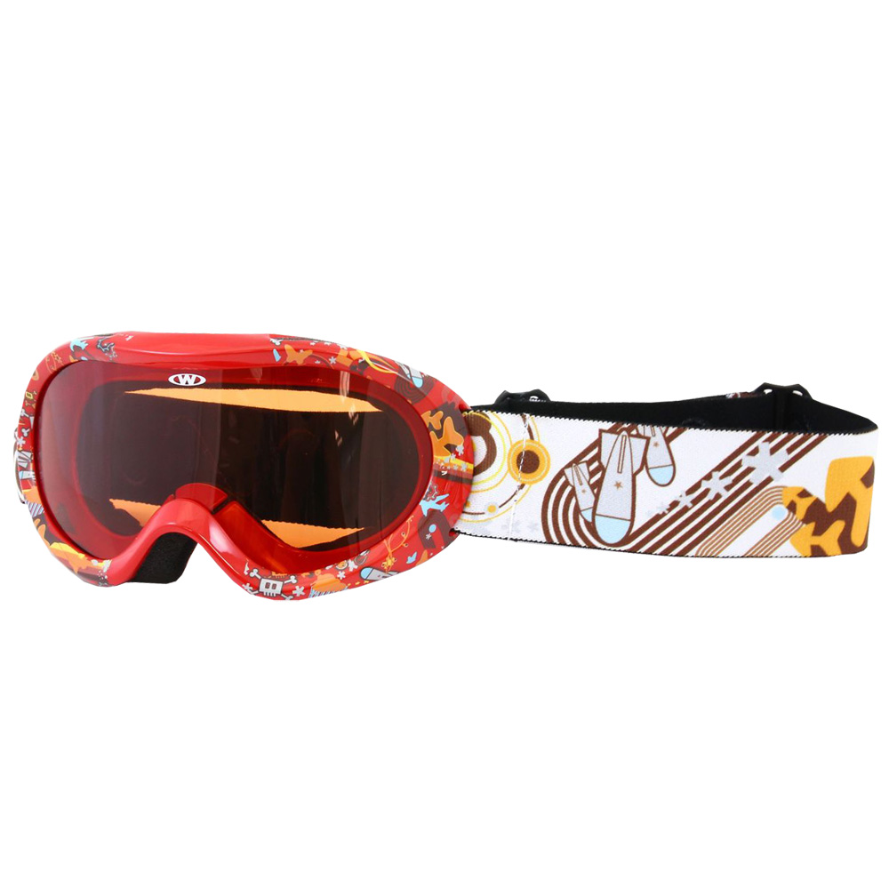 Junior lyžařské brýle WORKER Doyle s grafikou červená s grafikou