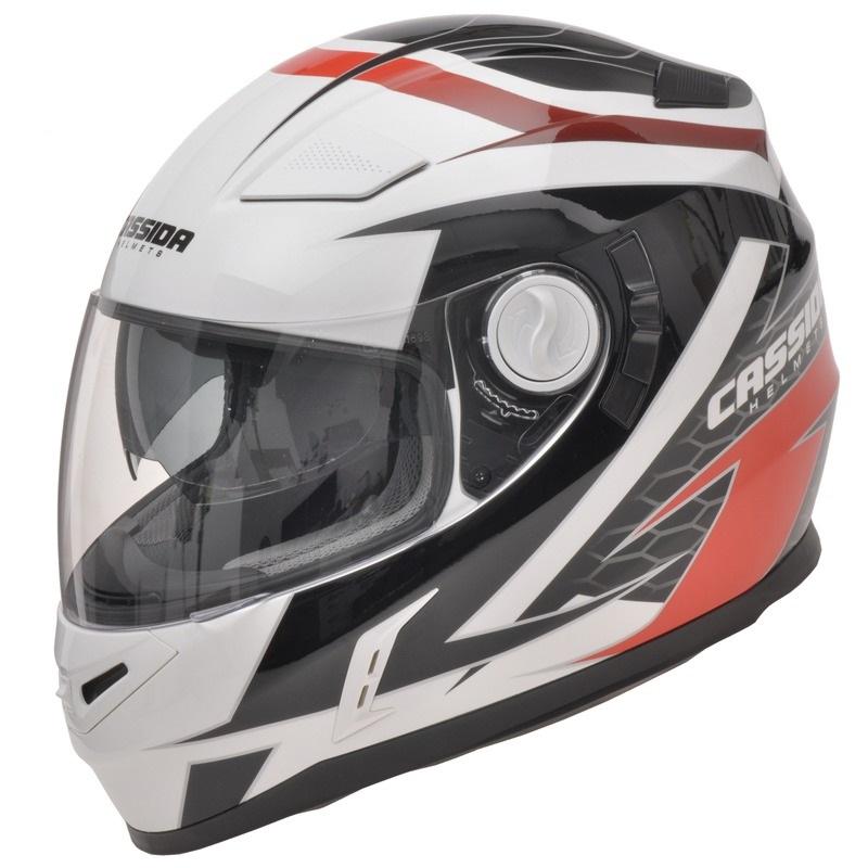 Moto helma Cassida Evo Černo-bílo-červená - L (59-60)
