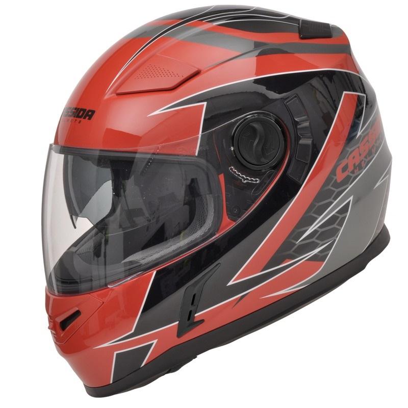 Moto helma Cassida Evo Černo-šedo-červená - S (55-56)