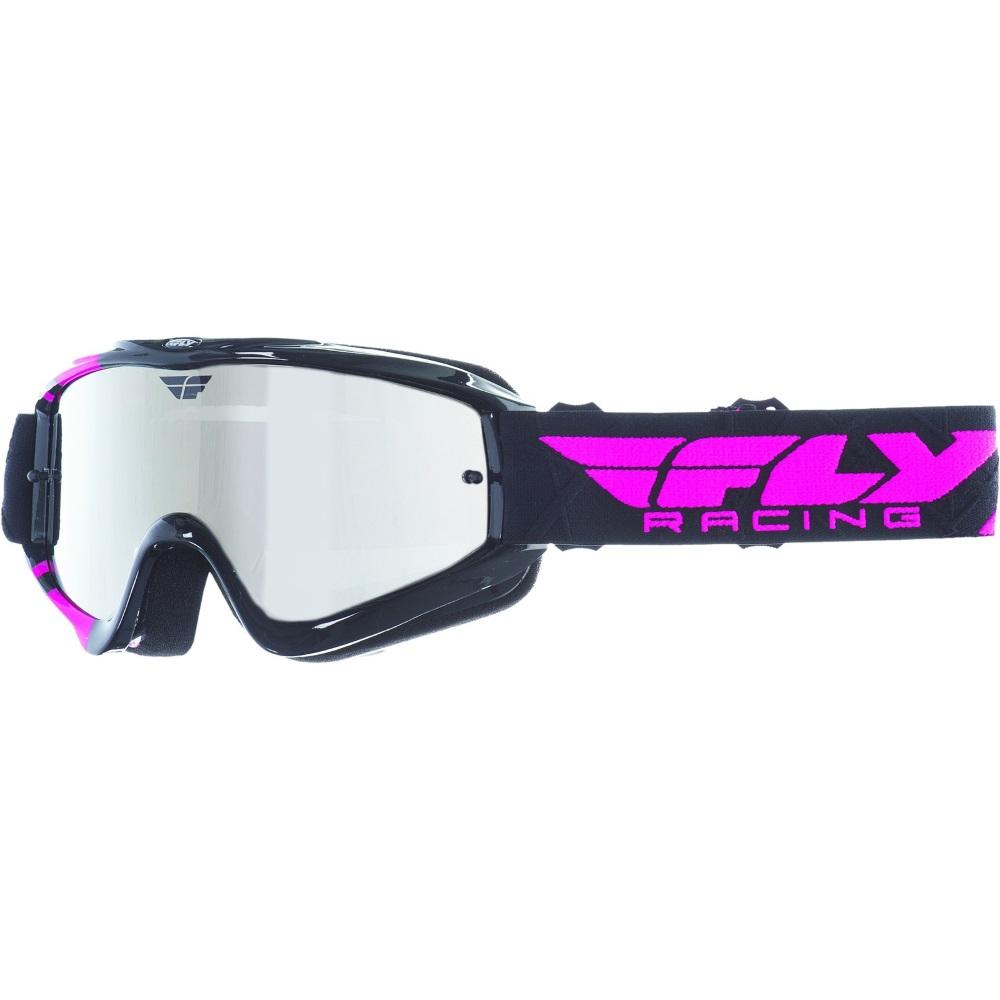 Motokrosové brýle Fly Racing RS Zone černé/růžové, zrcadlové plexi s čepy pro slídy