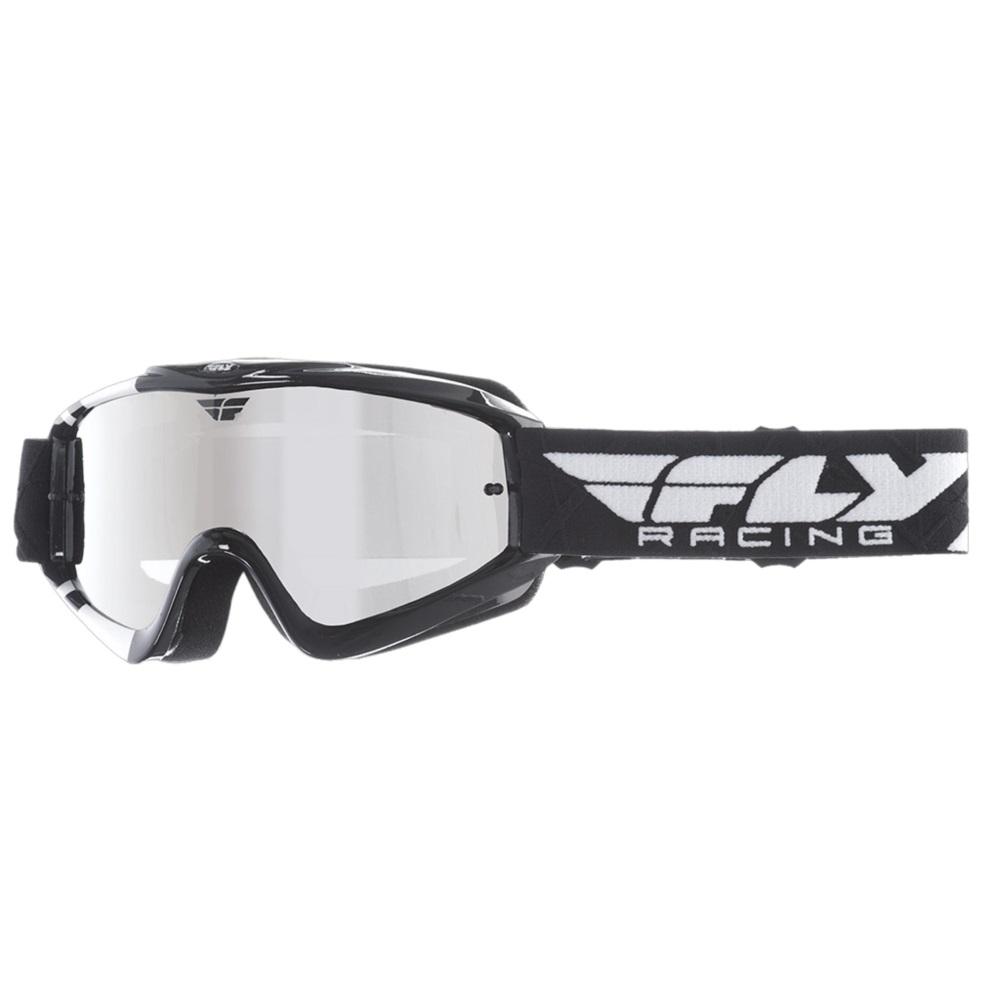 Dětské motokrosové brýle Fly Racing RS Zone Youth černé/bílé, zrcadlové plexi s čepy pro slídy