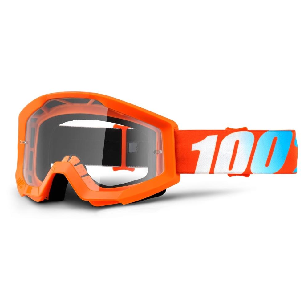 Motokrosové brýle 100% Strata Orange oranžová, čiré plexi s čepy pro slídy