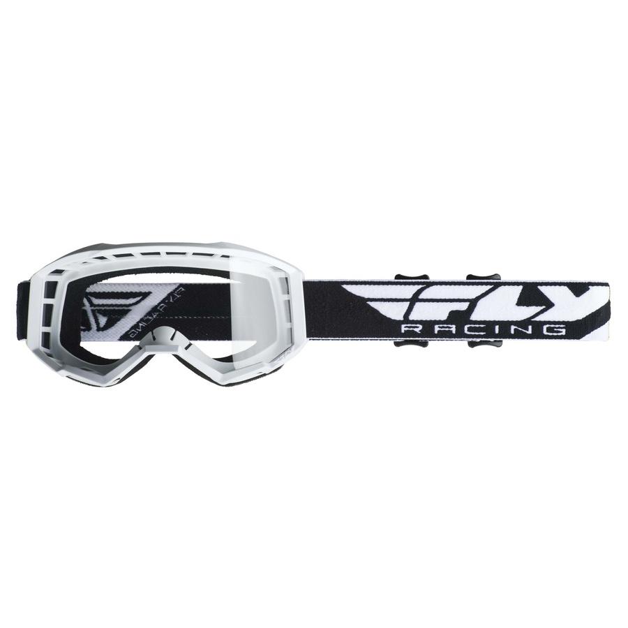 Motokrosové brýle Fly Racing Focus 2019 bílé, čiré plexi bez pinů