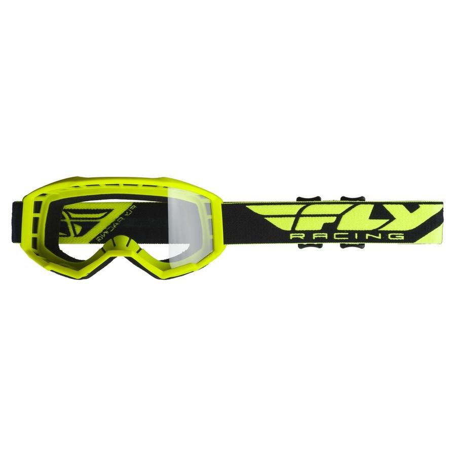 Motokrosové brýle Fly Racing Focus 2019 hi-vis, čiré plexi bez pinů