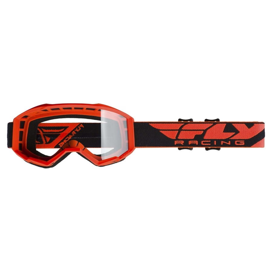 Motokrosové brýle Fly Racing Focus 2019 oranžové, čiré plexi bez pinů