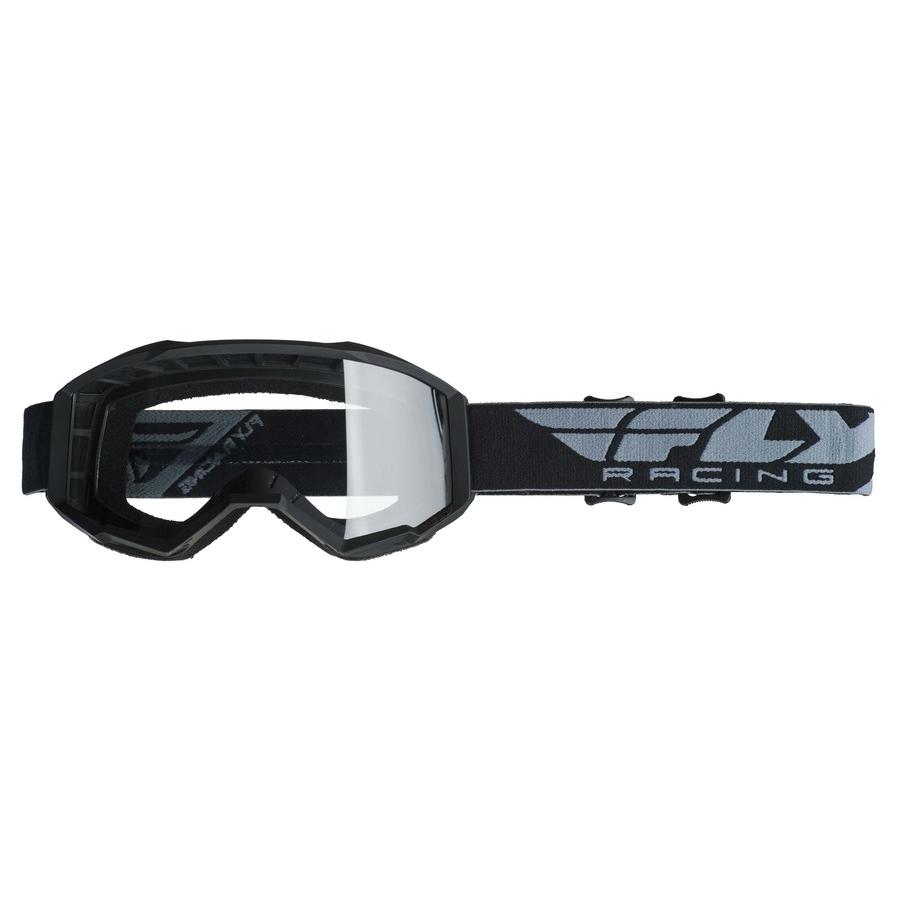 Dětské motokrosové brýle Fly Racing Focus Youth 2019 černé, čiré plexi bez pinů