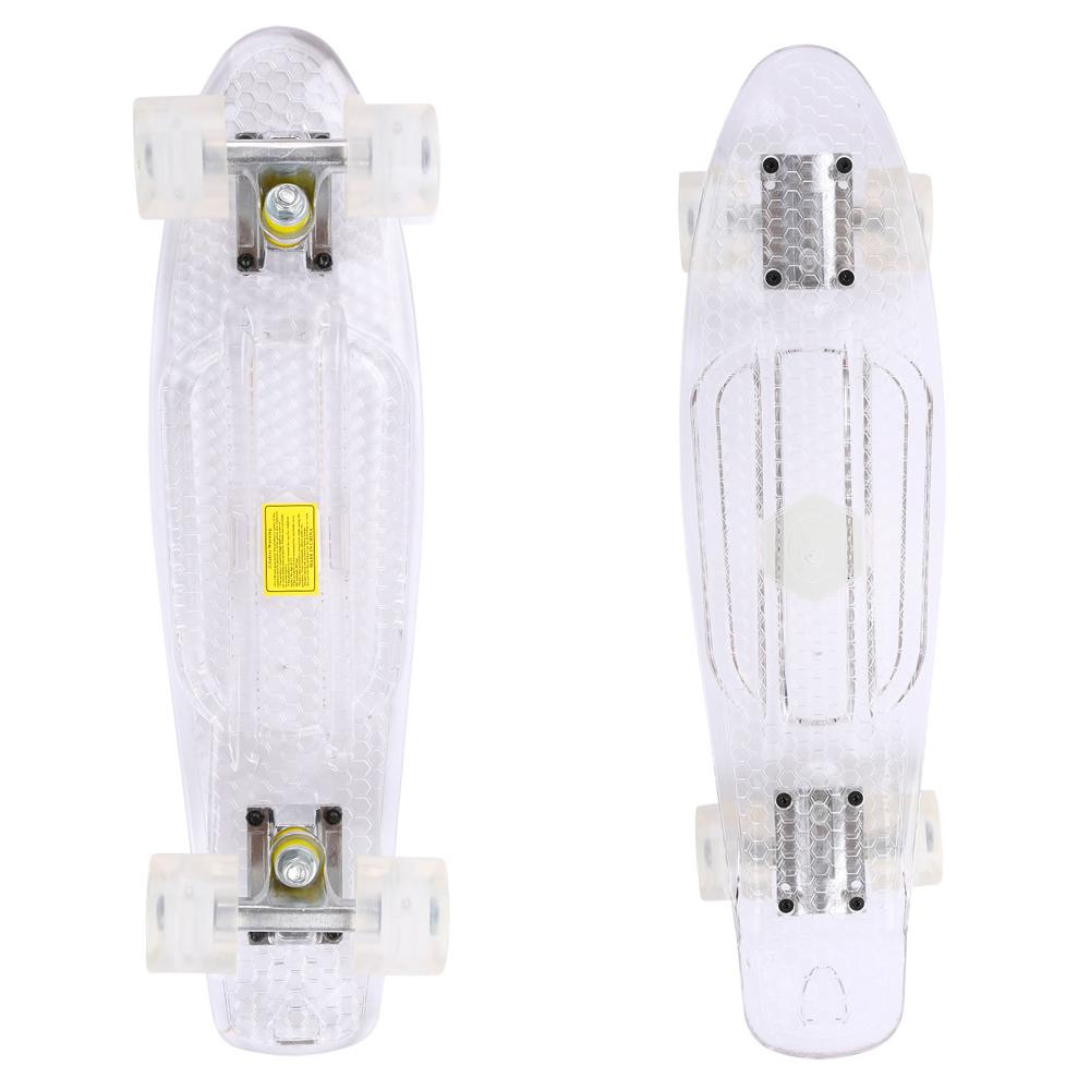 Penny board Maronad Retro Transparent se svítícími kolečky bílá