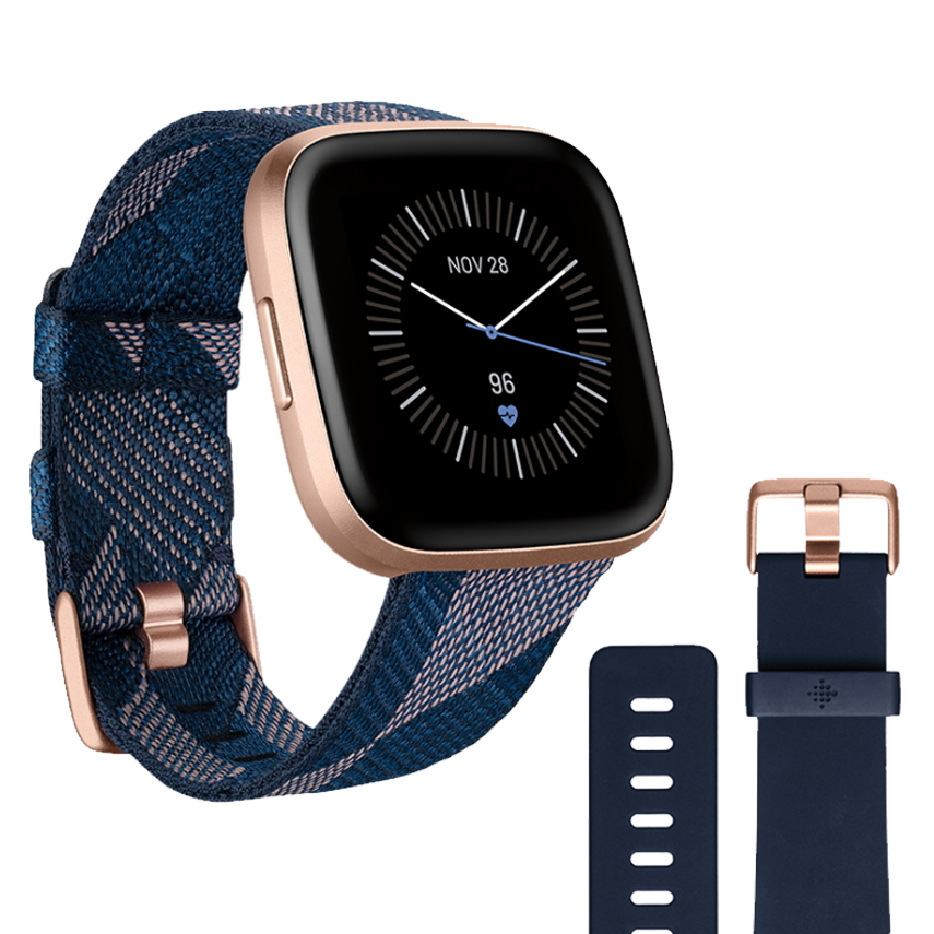 Chytré hodinky Fitbit Versa 2 Special Edition Navy & Pink Woven