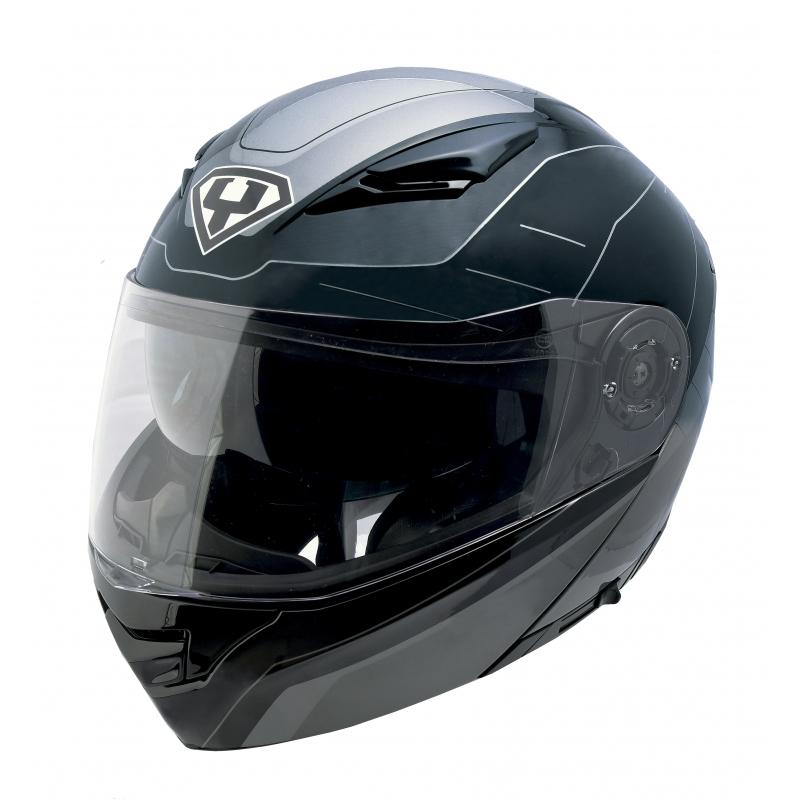Výklopná moto helma Yohe 950-16 Black-Grey - S (55-56)
