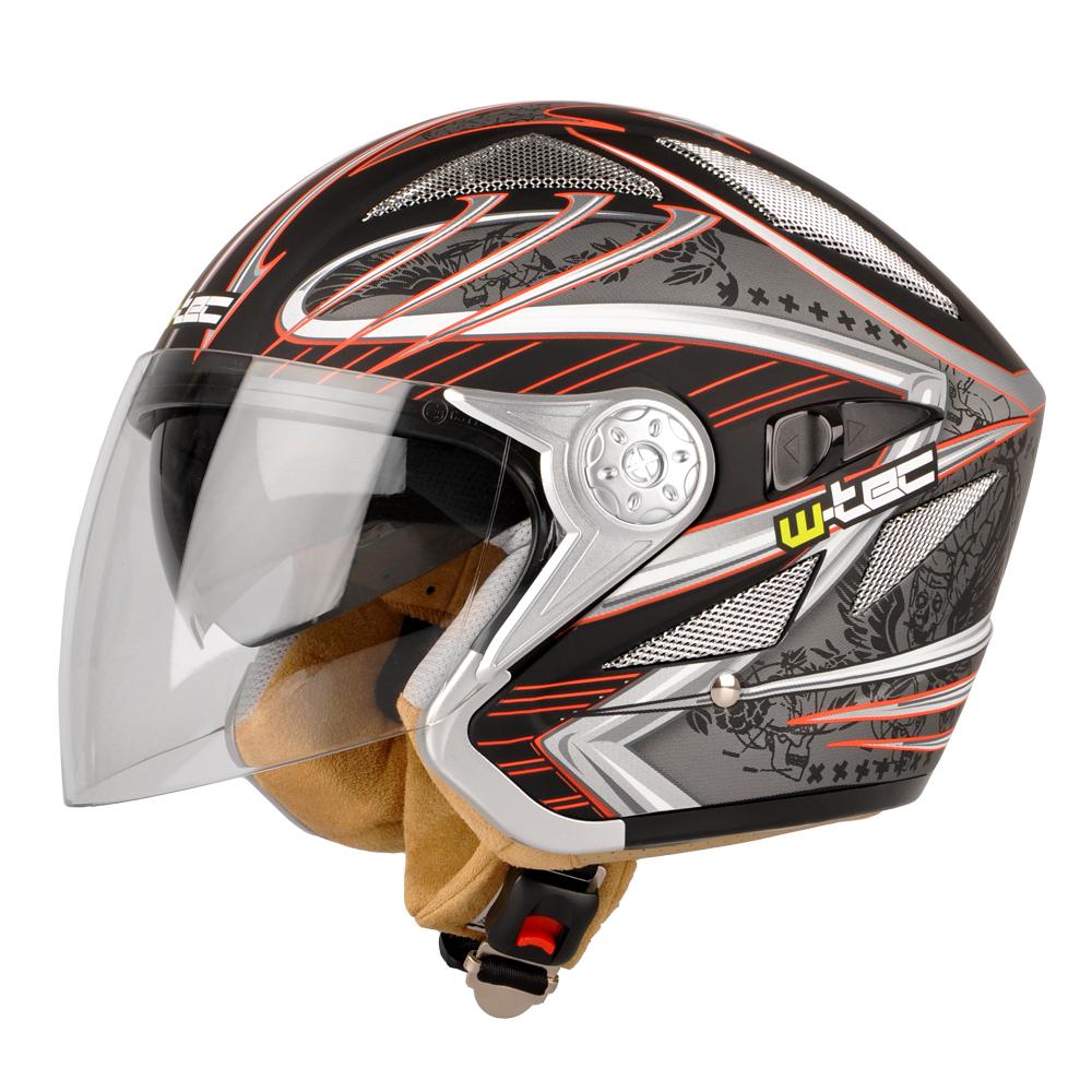 Moto helma W-TEC V529 černá s grafikou - 2XS