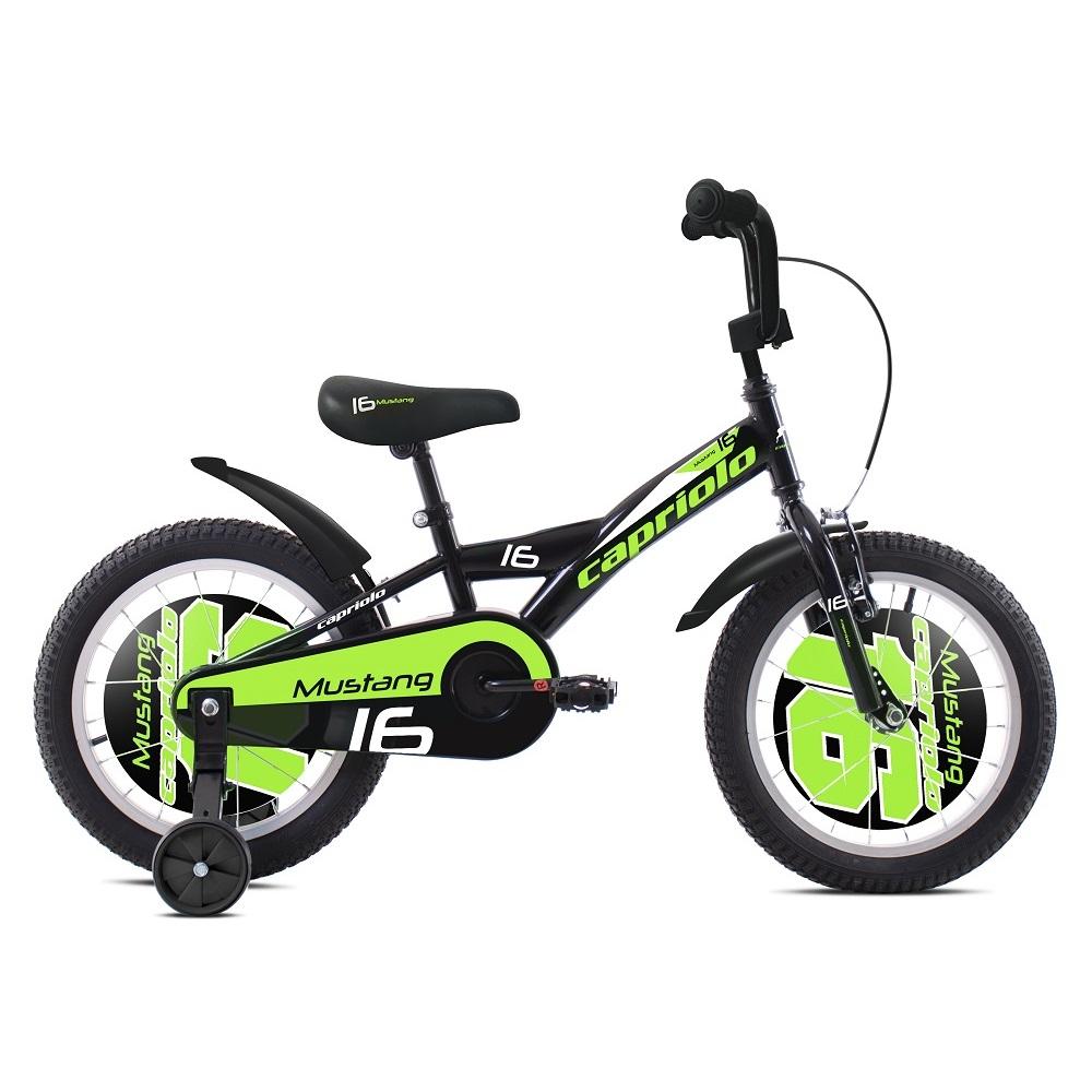 """Dětské kolo Capriolo Mustang 16"""" - model 2020 černo-zelená"""