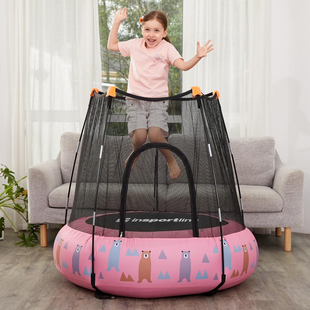 Dětská nafukovací trampolína inSPORTline Nufino 120 cm růžová